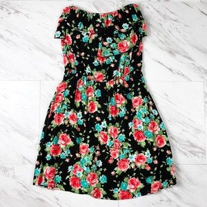 Strapless Black Floral Summer Dress with Open Back